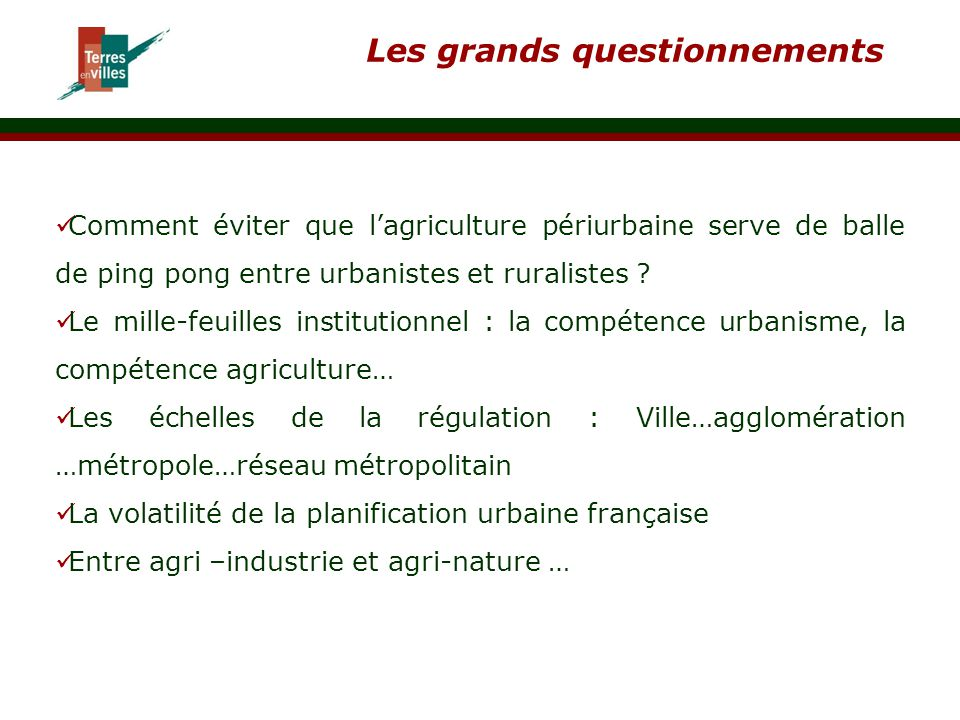 Les grands questionnements