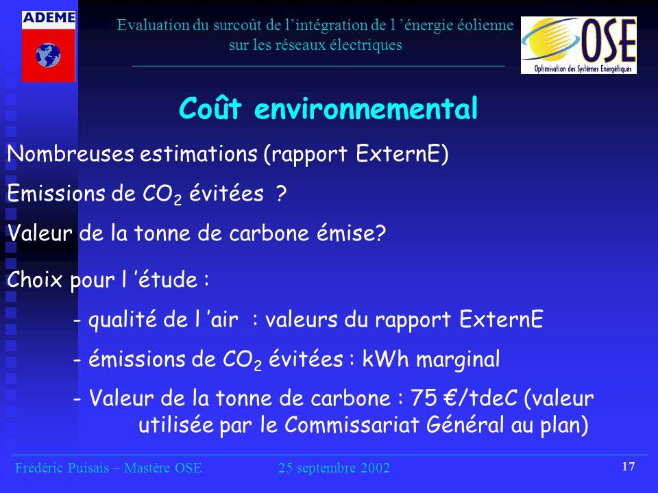 Coût environnemental Nombreuses estimations (rapport ExternE)