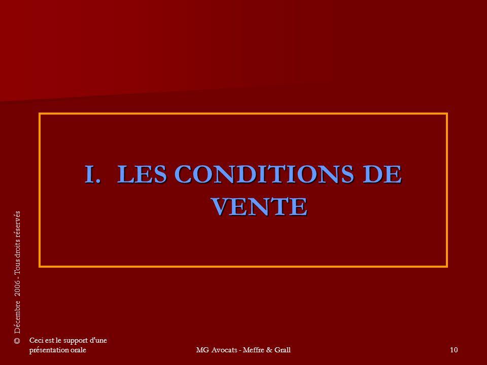 LES CONDITIONS DE VENTE
