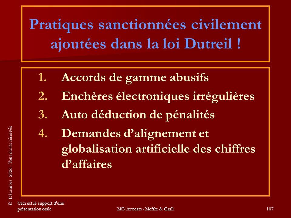 Pratiques sanctionnées civilement ajoutées dans la loi Dutreil !