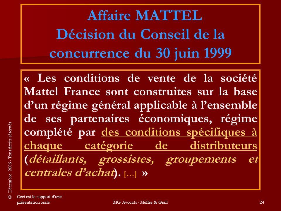 Affaire MATTEL Décision du Conseil de la concurrence du 30 juin 1999