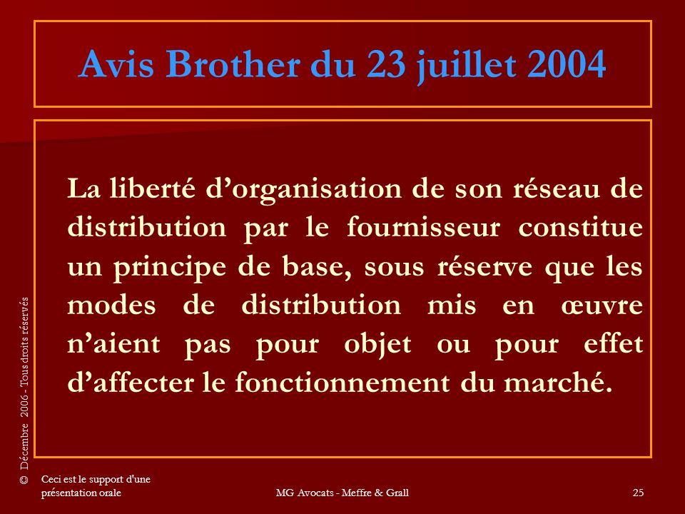 Avis Brother du 23 juillet 2004