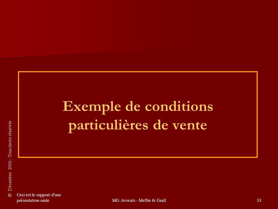 Exemple de conditions particulières de vente