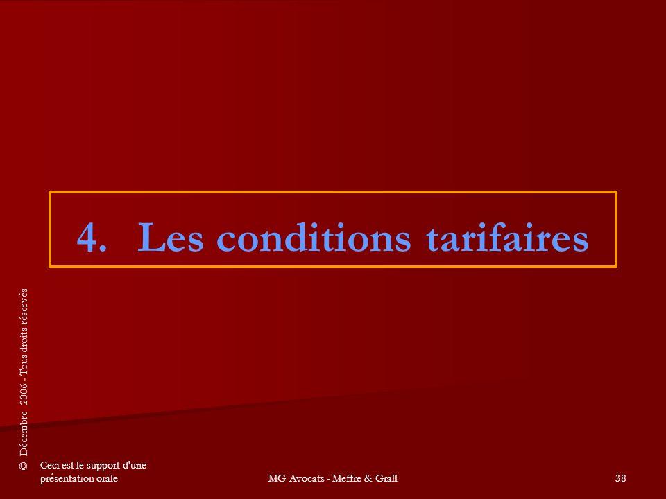 Les conditions tarifaires