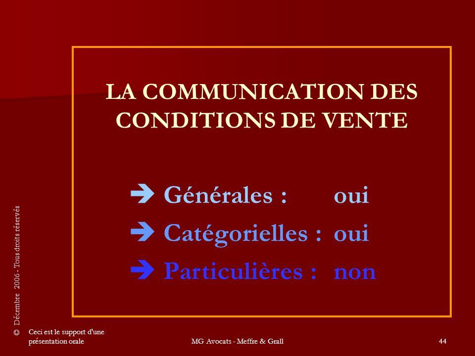 LA COMMUNICATION DES CONDITIONS DE VENTE