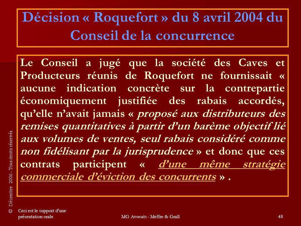 Décision « Roquefort » du 8 avril 2004 du Conseil de la concurrence
