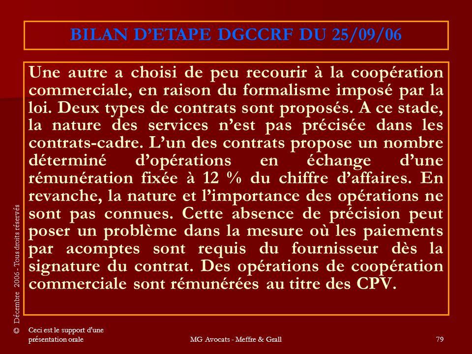 BILAN D'ETAPE DGCCRF DU 25/09/06