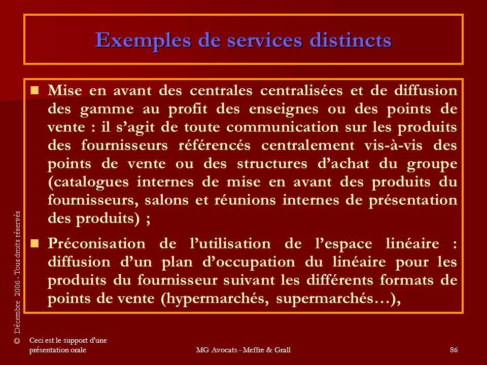 Exemples de services distincts
