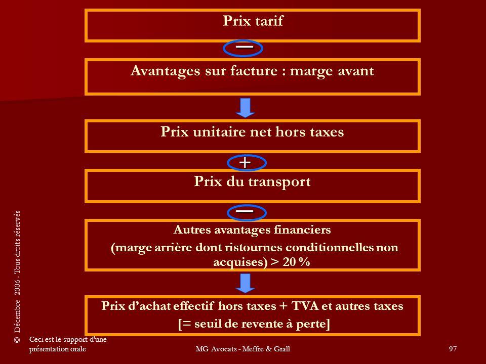 _ _ + Prix tarif Avantages sur facture : marge avant