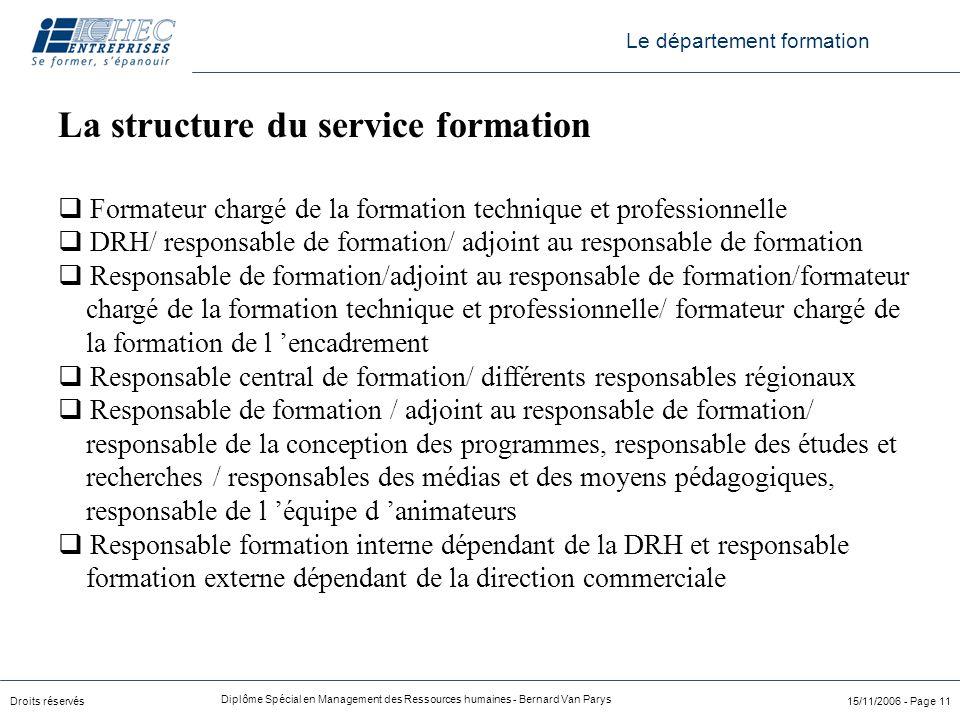 La structure du service formation