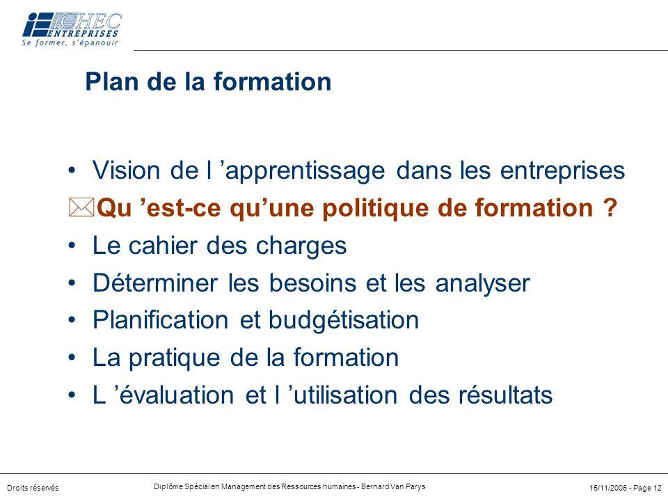 Plan de la formation Vision de l 'apprentissage dans les entreprises. Qu 'est-ce qu'une politique de formation