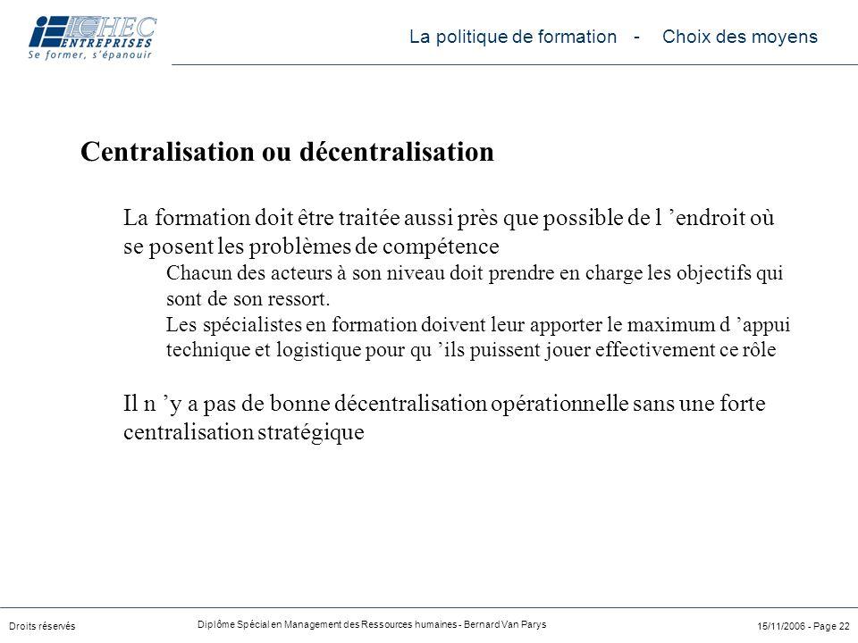 Centralisation ou décentralisation