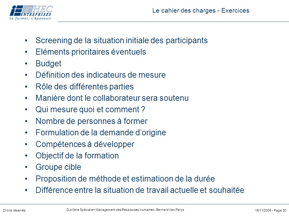 Le cahier des charges - Exercices