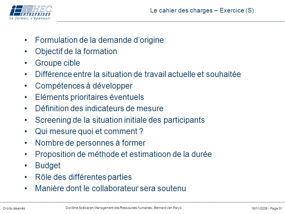 Le cahier des charges – Exercice (S)