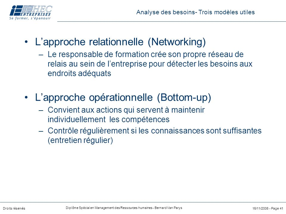 L'approche relationnelle (Networking)