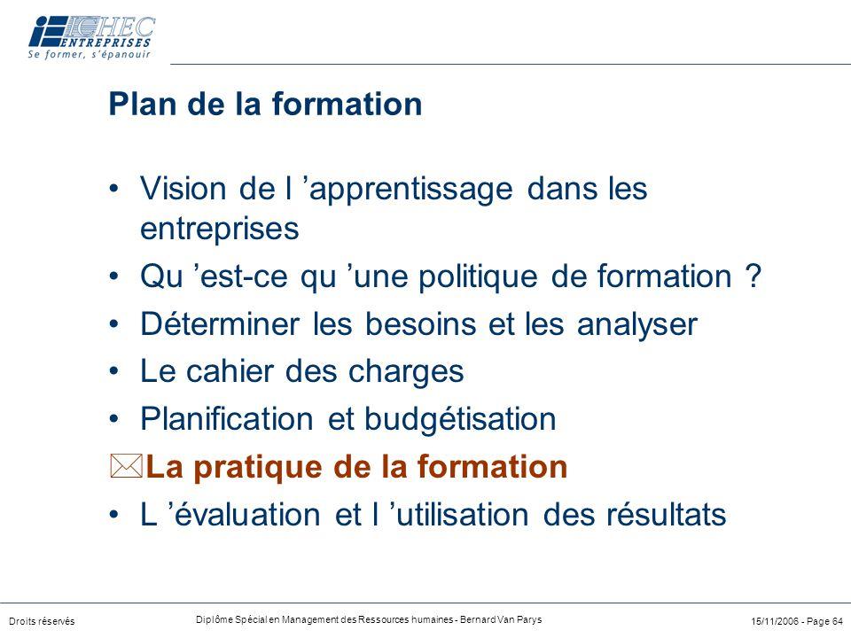 Plan de la formation Vision de l 'apprentissage dans les entreprises. Qu 'est-ce qu 'une politique de formation