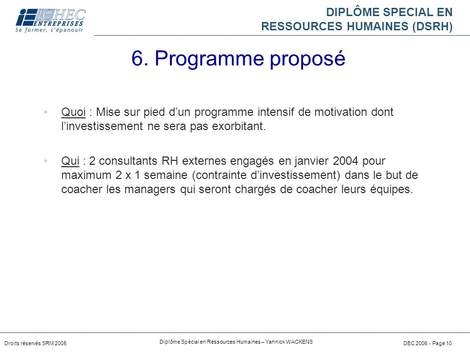 6. Programme proposé Quoi : Mise sur pied d'un programme intensif de motivation dont l'investissement ne sera pas exorbitant.