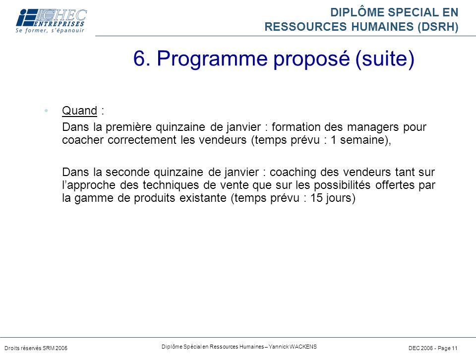 6. Programme proposé (suite)
