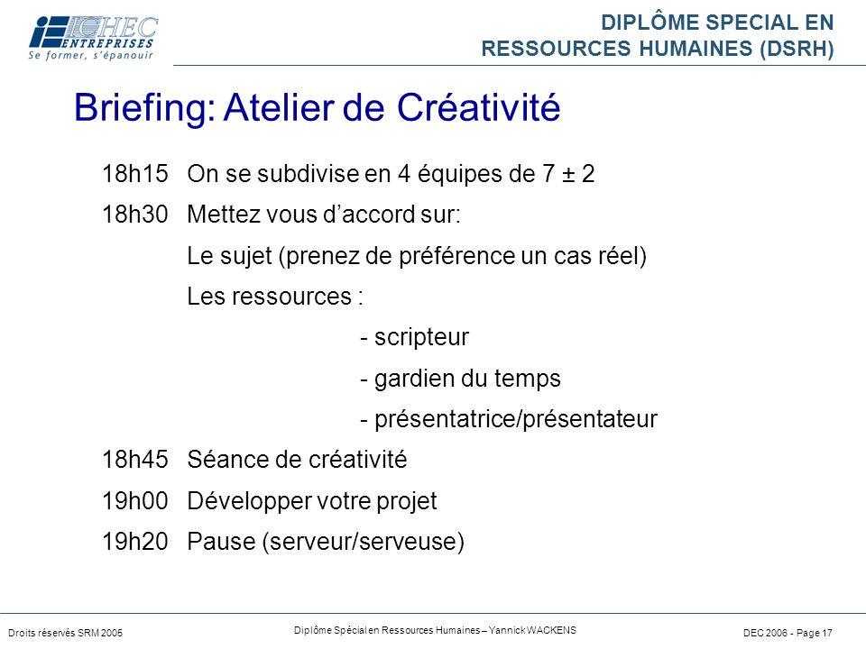 Briefing: Atelier de Créativité