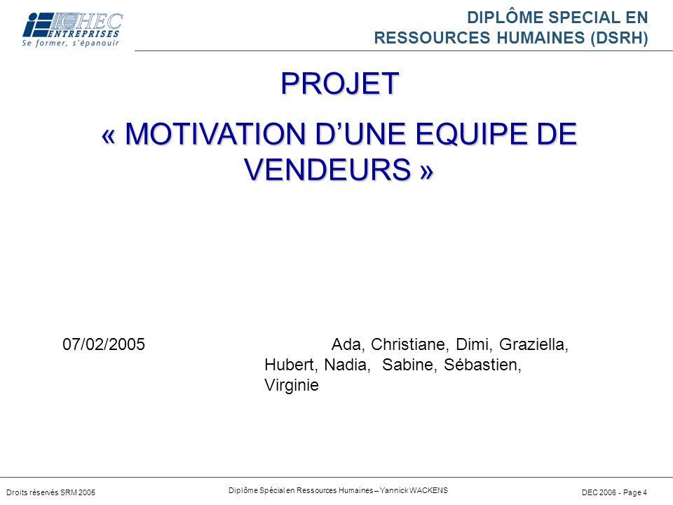 « MOTIVATION D'UNE EQUIPE DE VENDEURS »