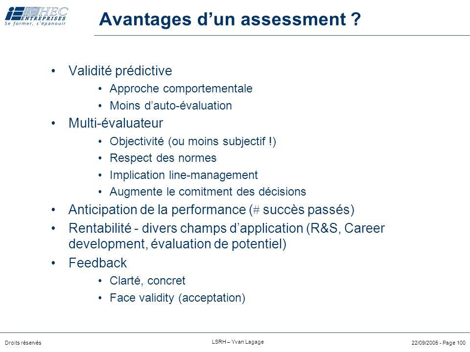 Avantages d'un assessment