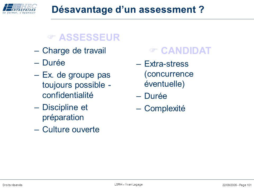Désavantage d'un assessment