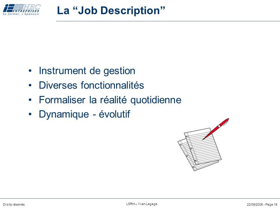 La Job Description Instrument de gestion Diverses fonctionnalités