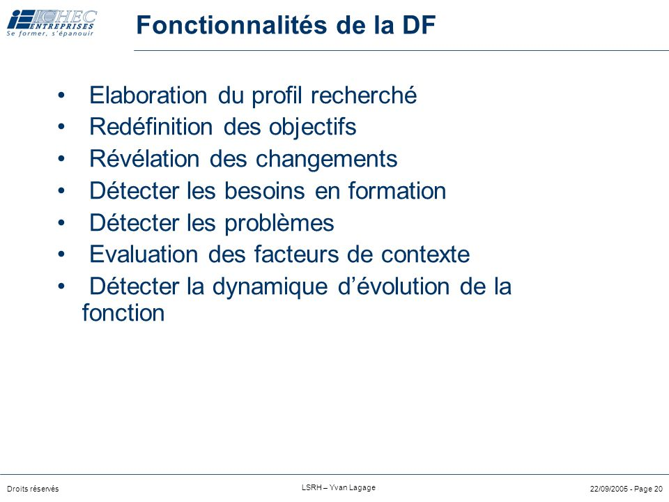 Fonctionnalités de la DF