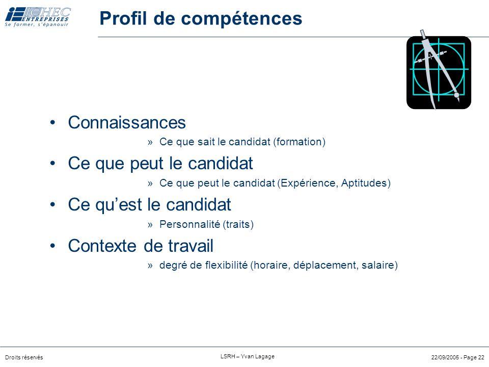 Profil de compétences Connaissances Ce que peut le candidat