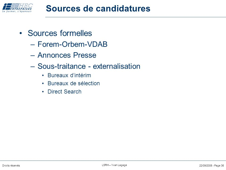 Sources de candidatures