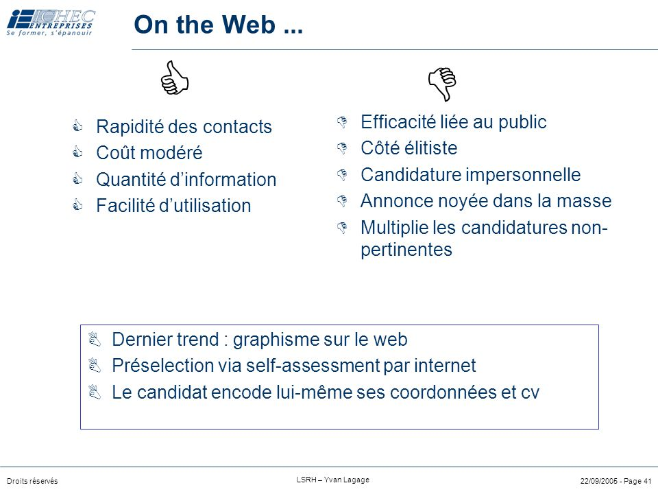   On the Web ... Efficacité liée au public Rapidité des contacts