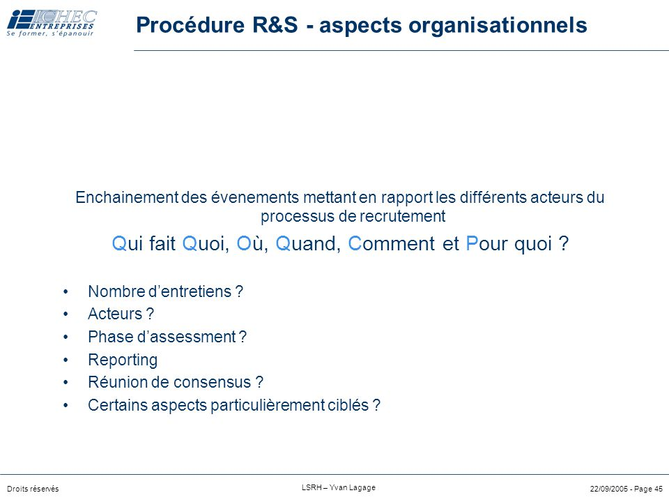Procédure R&S - aspects organisationnels