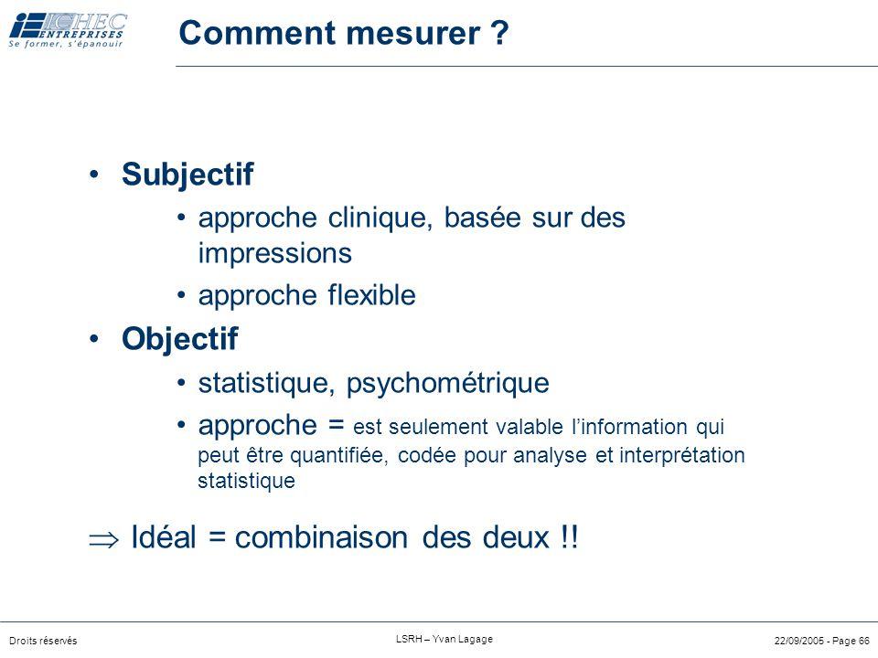 Comment mesurer Subjectif Objectif  Idéal = combinaison des deux !!