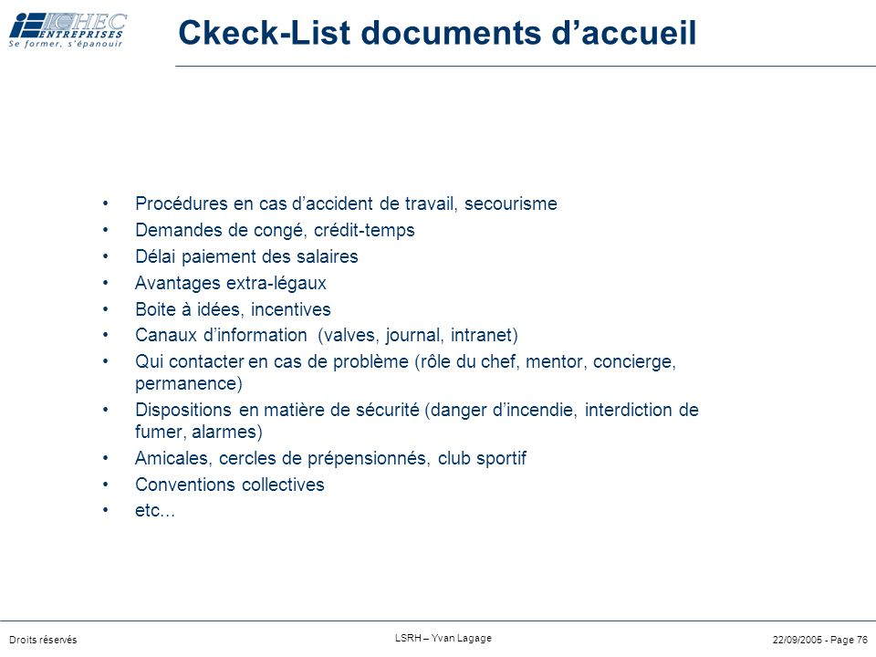 Ckeck-List documents d'accueil