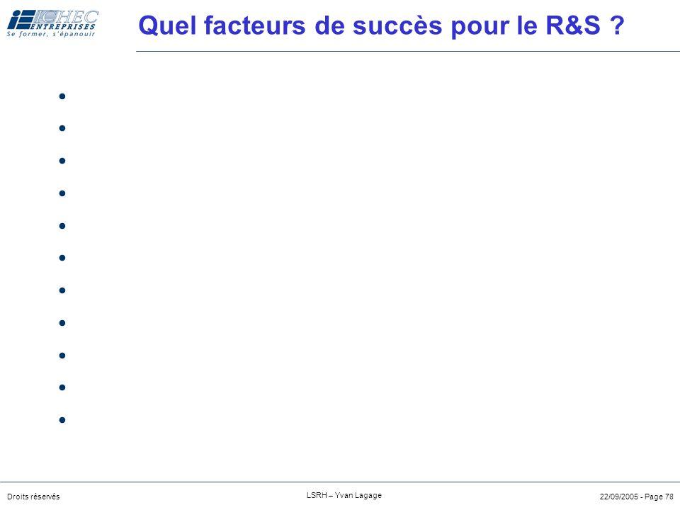 Quel facteurs de succès pour le R&S