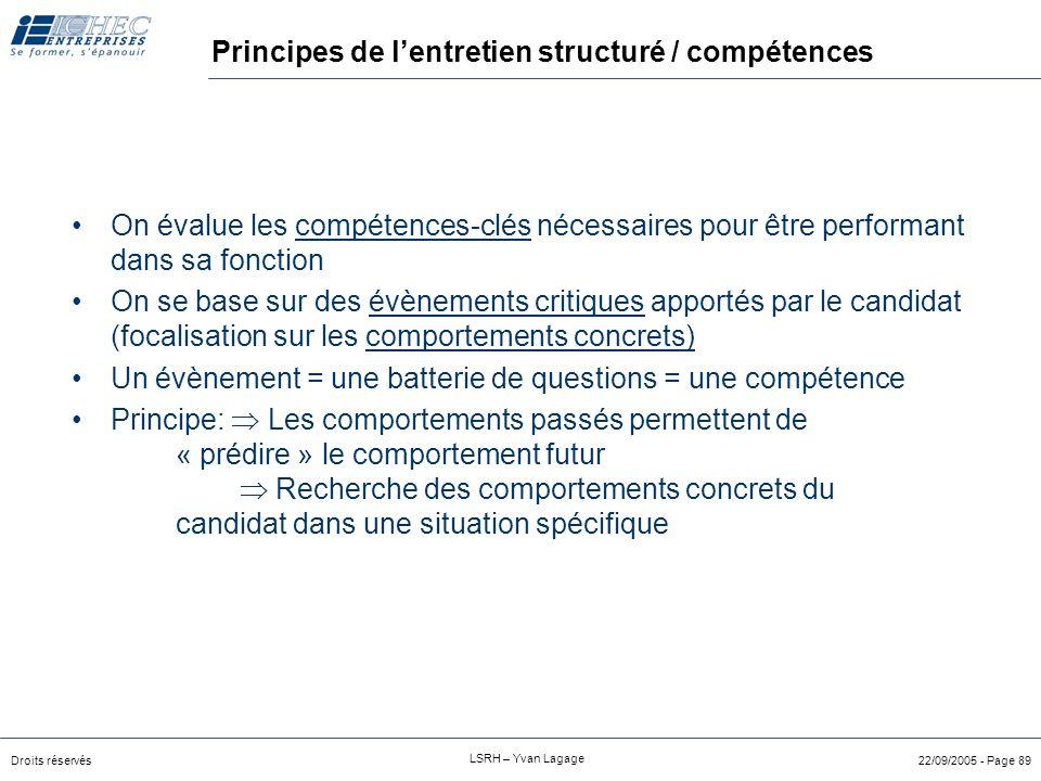 Principes de l'entretien structuré / compétences