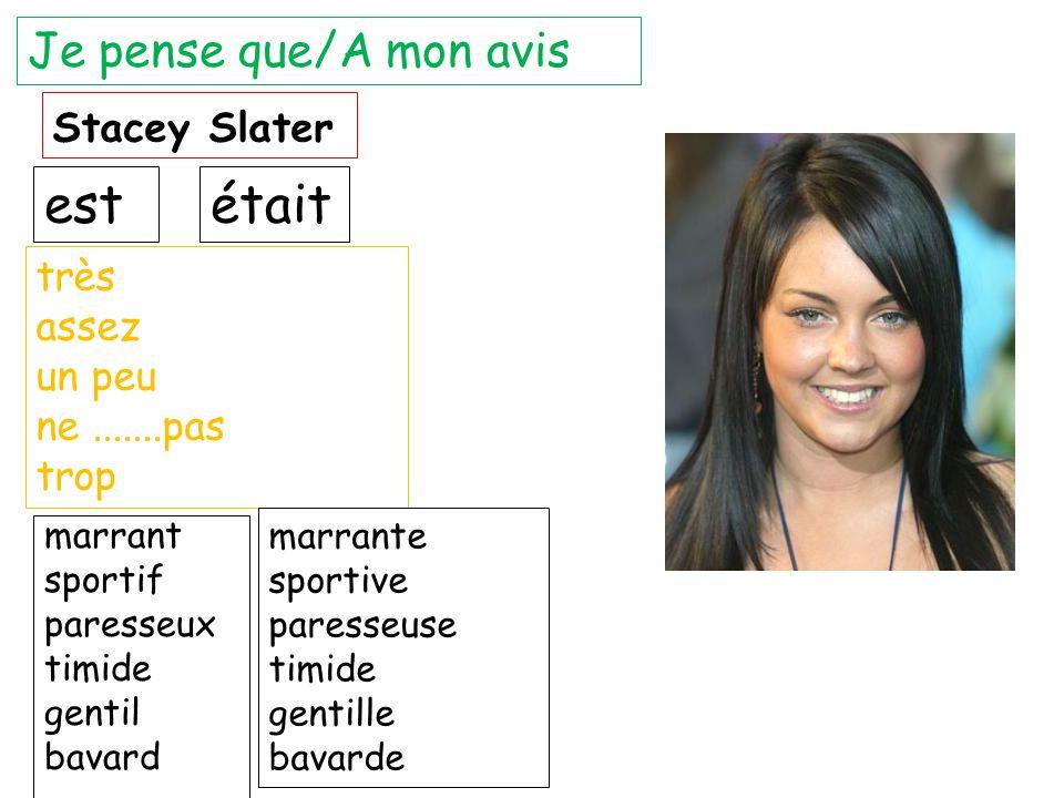 est était Je pense que/A mon avis Stacey Slater très assez un peu