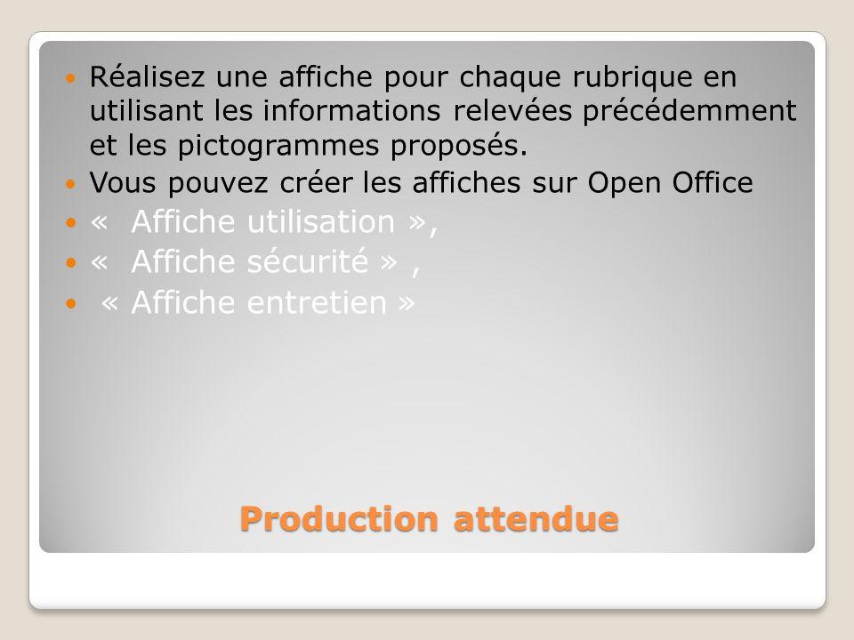 Production attendue « Affiche utilisation », « Affiche sécurité » ,