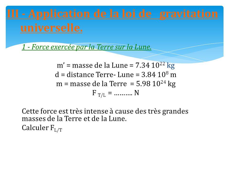 III - Application de la loi de gravitation universelle.