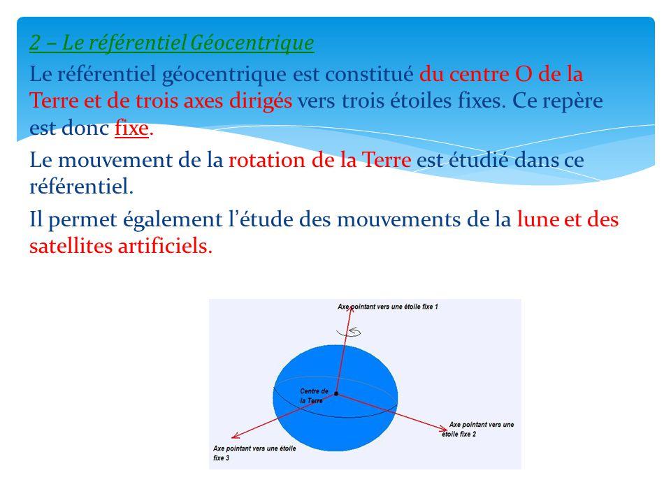 2 – Le référentiel Géocentrique Le référentiel géocentrique est constitué du centre O de la Terre et de trois axes dirigés vers trois étoiles fixes.