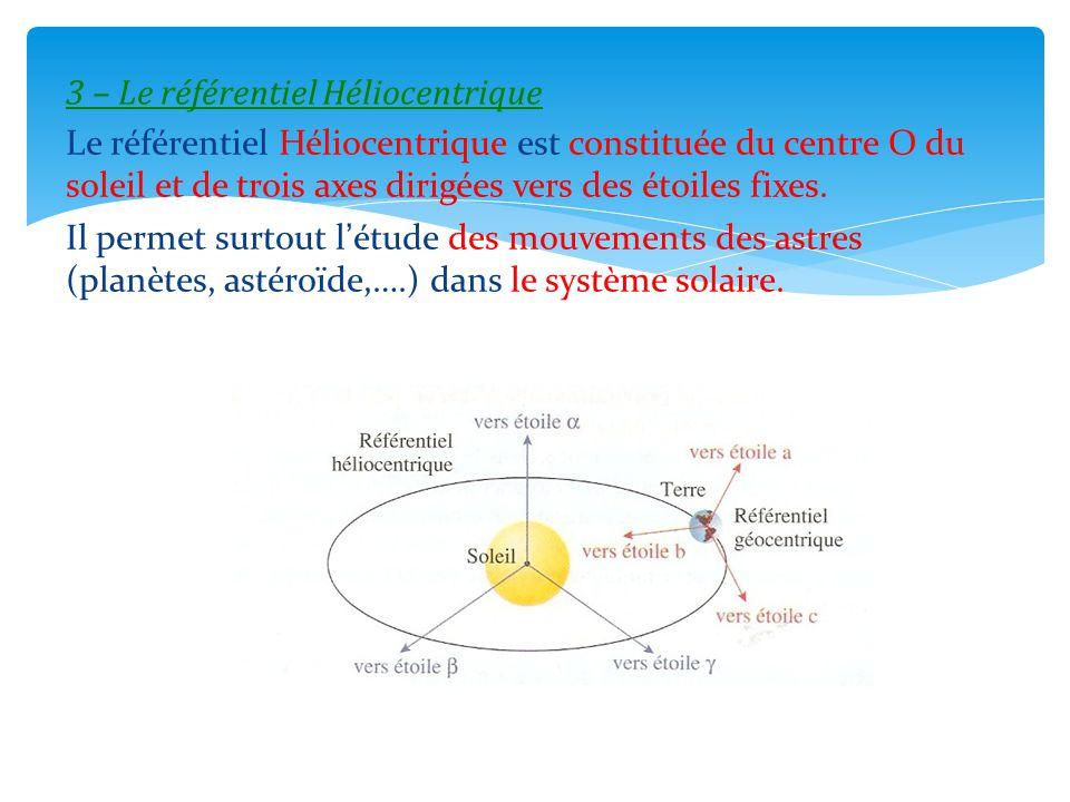3 – Le référentiel Héliocentrique Le référentiel Héliocentrique est constituée du centre O du soleil et de trois axes dirigées vers des étoiles fixes.