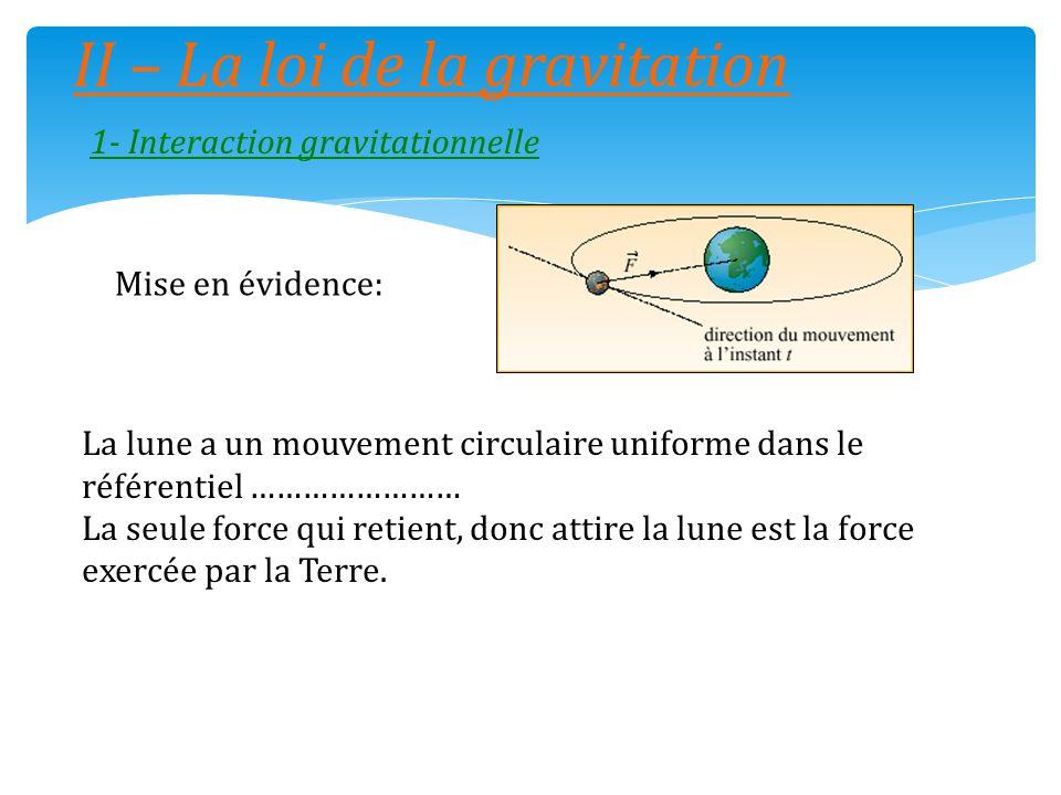 II – La loi de la gravitation