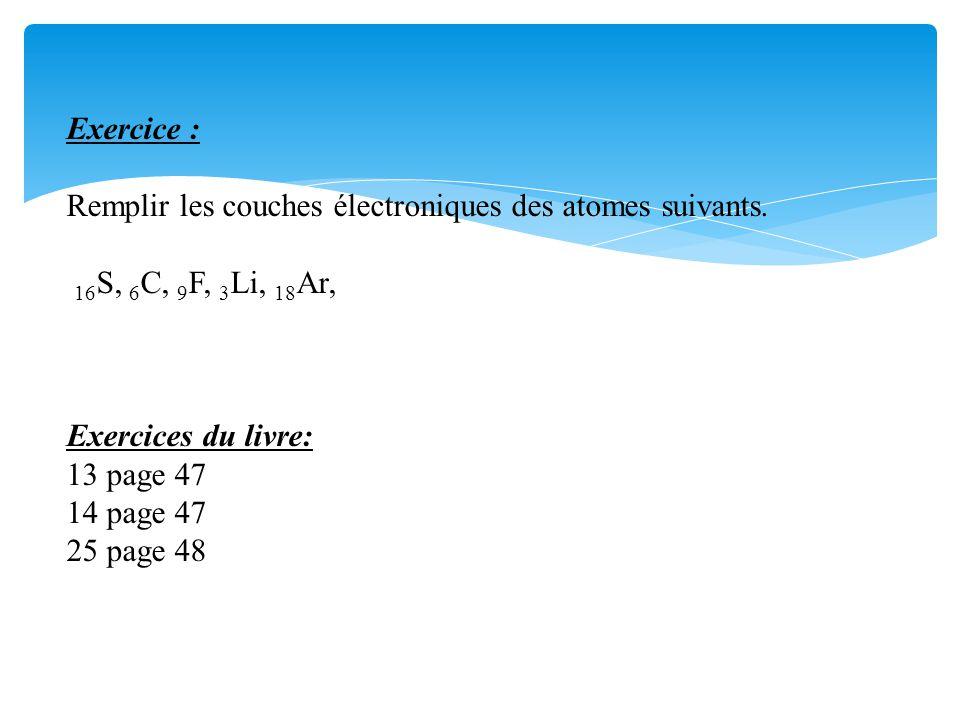 Exercice : Remplir les couches électroniques des atomes suivants