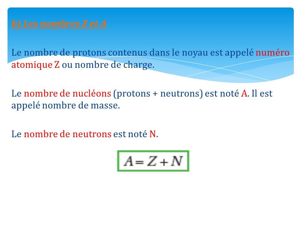 b) Les nombres Z et A Le nombre de protons contenus dans le noyau est appelé numéro atomique Z ou nombre de charge.