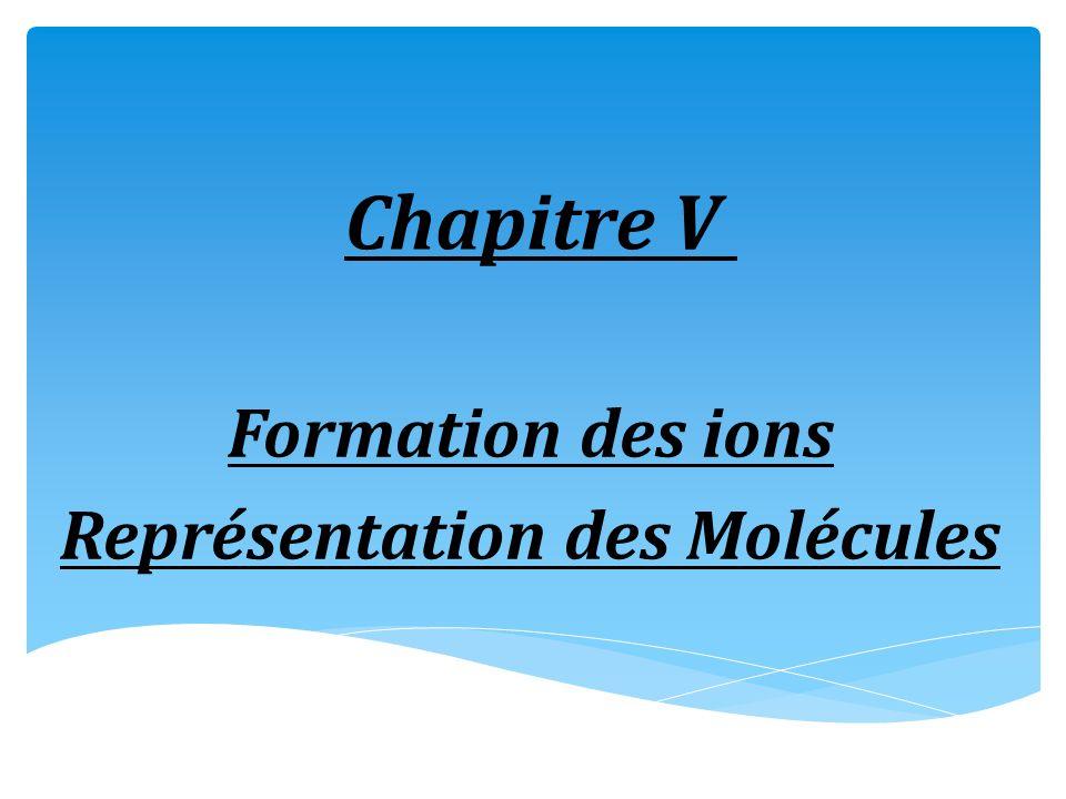 Formation des ions Représentation des Molécules