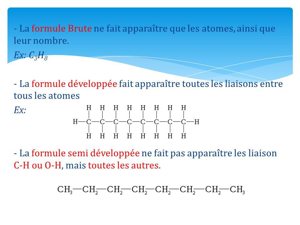 - La formule Brute ne fait apparaître que les atomes, ainsi que leur nombre.