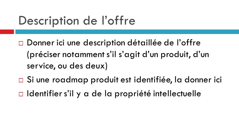 Description de l'offre