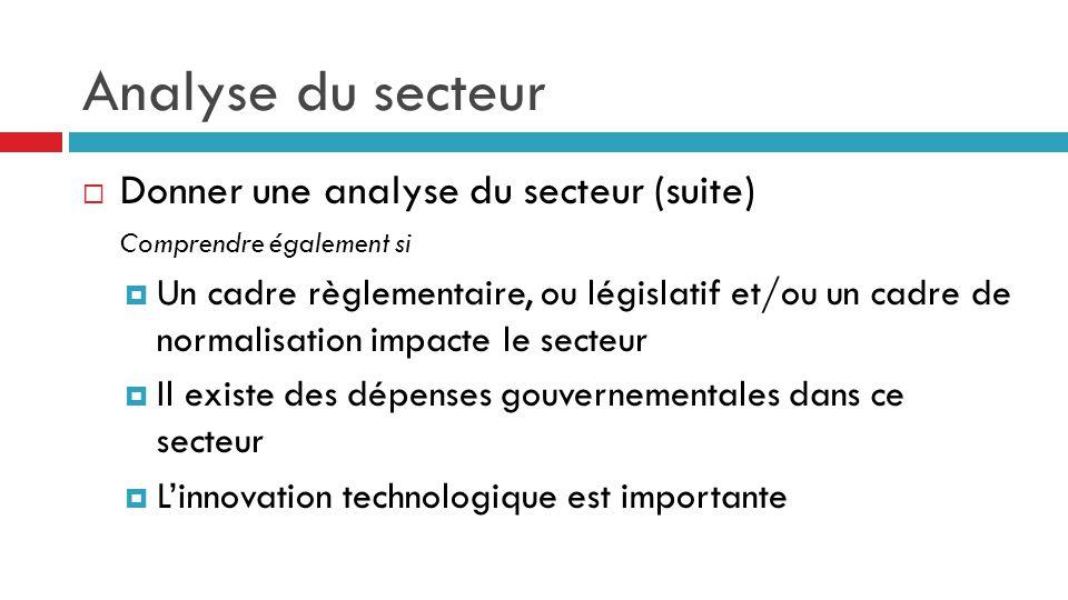 Analyse du secteur Donner une analyse du secteur (suite)