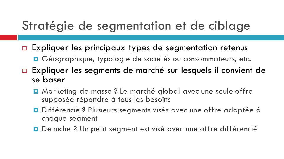 Stratégie de segmentation et de ciblage