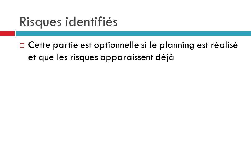 Risques identifiés Cette partie est optionnelle si le planning est réalisé et que les risques apparaissent déjà.